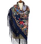 Цыганка Аза 362-14, павлопосадский платок (шаль) из уплотненной шерсти с шелковой вязанной бахромой, фото 2