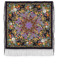 Цыганка Аза 362-15, павлопосадский платок (шаль) из уплотненной шерсти с шелковой вязанной бахромой