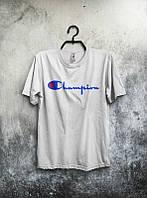 Брендовая футболка Champion, футболка чемпион, белая , летняя, мужская, спортивная, КП2363