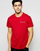 Брендовая футболка Champion, футболка чемпион, красная, мужская, спортивная, КП2362