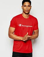 Брендовая футболка Champion, футболка чемпион, красная, мужская, летняя, спортивная, КП2363