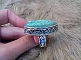 Красивое кольцо маркиз с камнем хризоколла в серебре кольцо с хризоколлой 19,0 размер, фото 8