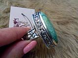 Красивое кольцо маркиз с камнем хризоколла в серебре кольцо с хризоколлой 19,0 размер, фото 7
