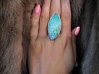 Красивое кольцо маркиз с камнем хризоколла в серебре кольцо с хризоколлой 19,0 размер, фото 1