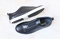 Мужские спортивные туфли-мокасины, черные, кожаные