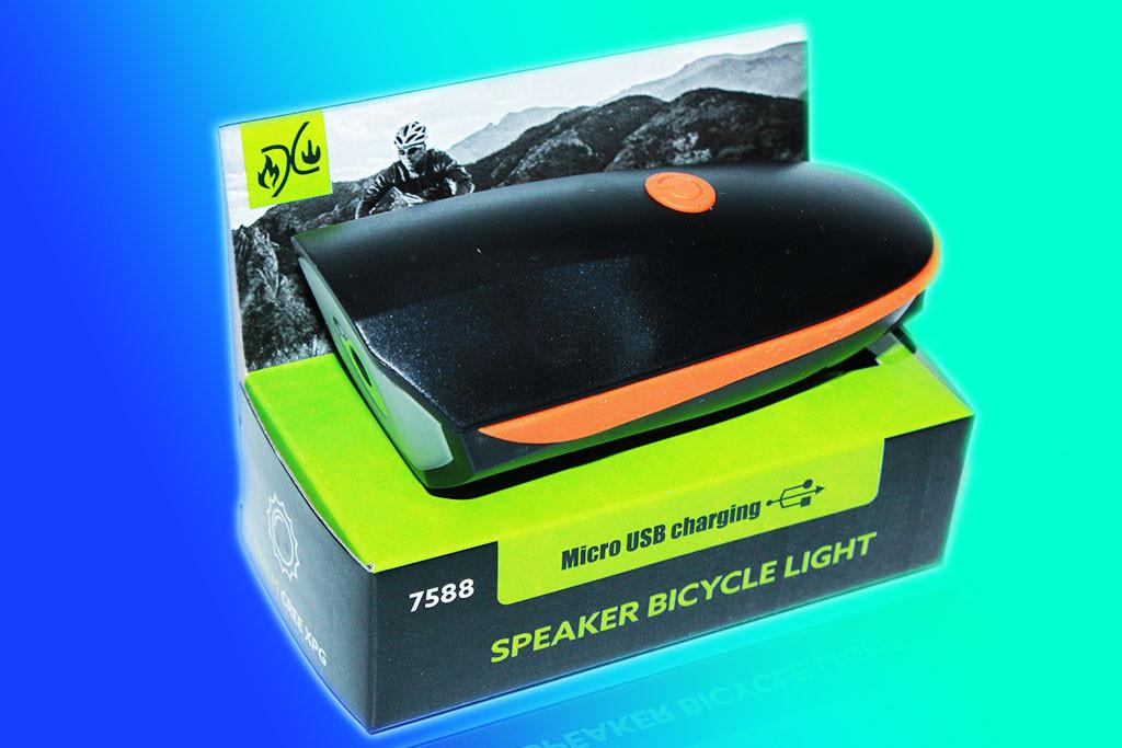 Велосипедный звонок+велофара аккум 7588 ЗУ micro USB