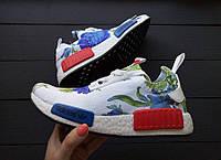 Женские Кроссовки Adidas NMD белые/синие цветы