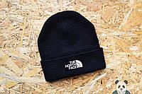 Молодежная шапка черная The North Face Beanie, шапка зимняя тнф