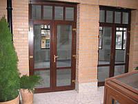 Входная евродверь со стеклопакетом (деревянные евроокна), фото 1
