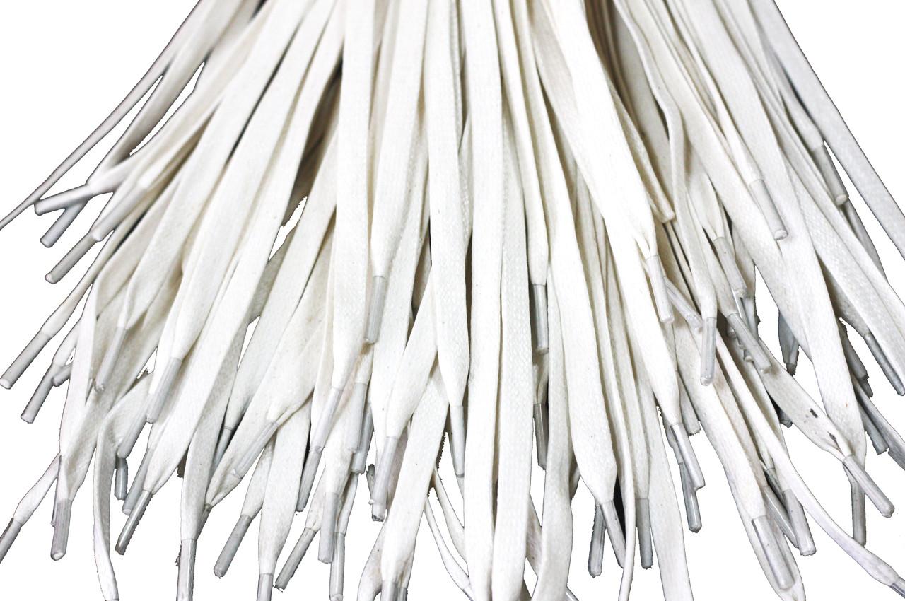 Шнурки для обуви с пропиткой (100см) плоские, белые