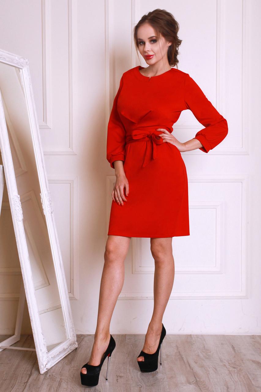 Женское однотонное платье