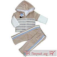 Велюровый костюм с капюшоном для малыша Размеры: 62-68 см (5586-2)