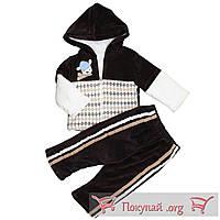 Велюровый костюм с травкой для малыша Размеры: 62-68 см (5586-3)