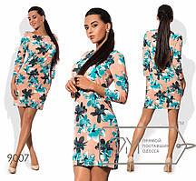 Яркое женское платье (вискоза, длина мини, боковые карманы, рукава 3/4, цветочный принт) РАЗНЫЕ ЦВЕТА!