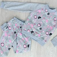 Очаровательный спортивный костюм для девочки (реглан + зауженные брюки, принт, карманы)