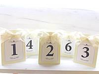 Номер односторонний на свадебный стол с двойным бантом для свадьбы в цвете айвори