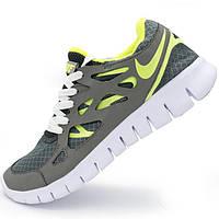 Кроссовки для бега Nike Free Run 2 Найк Фри Ран, серые с зеленым - Реплика р.(40, 41)