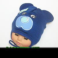 Детская весенняя осенняя вязаная шапочка р. 48-50 на завязках отлично тянется 3629 Синий 48