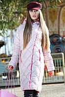 Модное стеганое пальто прямого силуэта