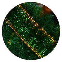 Дождик (мишура) 10 см Польша (зеленый/ золотые края, норка, двойная набивка)