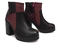 Женские ботинки двухцветные на каблуке