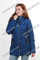 Куртка демисезонная с капюшоном синяя Манго