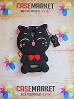 Объемный 3D силиконовый чехол бампер для Lenovo A2010 Кошечка черная