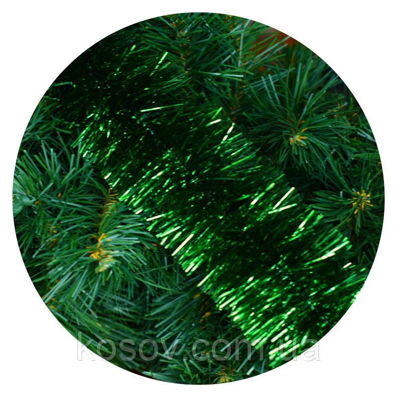 Дождик (мишура) 10 см Польша (зеленый, норка, двойная набивка)