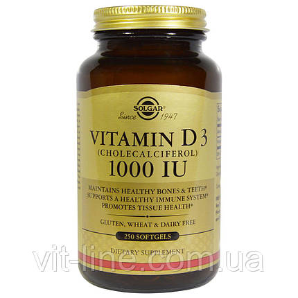 Solgar, Натуральный витамин D3 (холекальциферол), 1000 МЕ, 250 капсул, фото 2