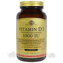 Solgar, Натуральний вітамін D3 (холекальциферол), 1000 МО, 250 капсул