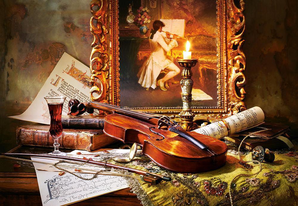 Пазлы Castorland С-103621 Натюрморт со скрипкой и живописью, 1000 элементов