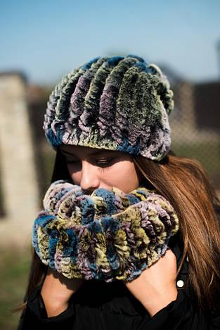 Комплект шапка и шарф (хомут) из натурального меха кролика