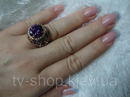 Кольцо с эмалью Фиолетовая загадка разм.16,5