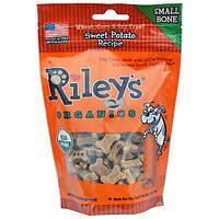 Rileys Organics, Лакомства для собак, маленькая косточка, рецепт со сладким картофелем, 5 унций (142 г)