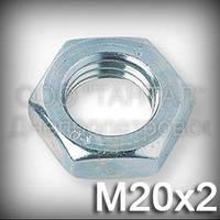 Гайка М20х2 низкая DIN 439 (ГОСТ 5929-70, ГОСТ 5916-70, ISO 4035,4036,8675) оцинкованная (контргайка)