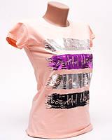 Женская футболка с ярким принтом Beautiful цвет пудра p.42-44 Gusse 5741 SS20-7