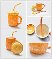 Чашка с крышкой и ложкой-трубочкой Дыня 500 мл (кружка фрукт)