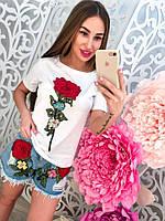"""Молодежный, женский, летний костюм футболка + джинсовые шорты, с вышивкой """"Алая роза"""""""