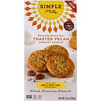 Simple Mills, Не содержит глютен, хрустящее печенье, поджаренный орех-пекан, 5.5 унций (156 г)