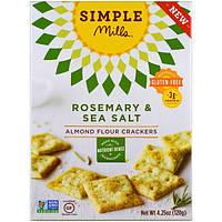 Simple Mills, Не содержит глютен, крекеры из миндальной муки, розмарин и морская соль, 4.25 унции (120 г)