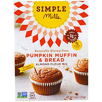 Simple Mills, Натуральная смесь миндальной муки без глютена, тыквенный кекс и хлеб, 9 унций (255 г)