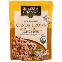 Seeds of Change, Organic, киноа, бурый и красный рис с семенами льна, 8.5 унций (240 г)