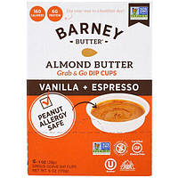 Barney Butter, Миндалевое масло, емкости для макания, ваниль + эспрессо, 6 одноразовых емкостей, 1 унция (28 г) каждая