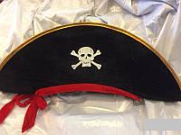 Шляпа пирата с лентой L пиратская шляпа
