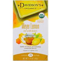 Davidsons Tea, Органический, Чай с лимоном Мейера и медом, Без кофеина, 25 пакетов, 2,18 унции (62 г)