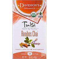 Davidsons Tea, Tulsi, Organic, Rooibos Chai, Caffeine-Free, 25 Tea Bags, 1.58 oz (45 g)