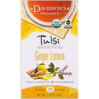 Davidsons Tea, Священный базилик, органический, имбирный лимонный чай, без кофеина, 25 чайных пакетиков, 1,58 унции (45 г)