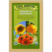 High Mowing Organic Seeds, Подсолнечное лето, Коллекция органических семян, В ассортименте, 3 пакета