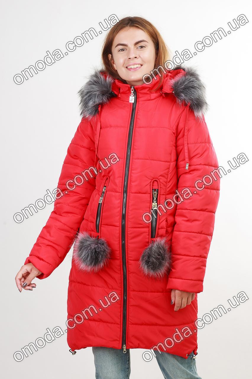 Куртка с капюшоном и помпонами красная УЛЯ