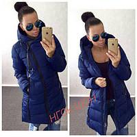 Женская зимняя куртка пальто на молнии ЕвроЗима